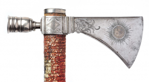 Closeup view of detail work on tomahawk. Morphy Auctions image