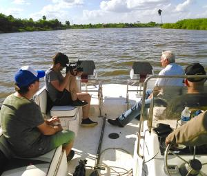 On the Rio Grande, US-Mexico border, filming the new documentary about Texas Mexican food.