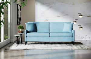 The Liz Jordan-Hill Millennial Love Seat Upholstered in Bellagio Velvet Aqua Clean Fabric