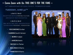 Zoom invite to Soul Food (the television series) 20th Anniversary Zoom Event, Open to Fans.