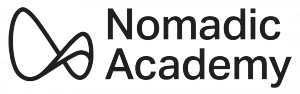 "Nomadic Academy logo. Black abstract infinity symbol with black text reading ""Nomadic Academy."""