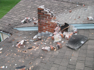 Plano, Texas windstorm chimney damage