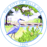 Belle Isle, Florida Seal which is circle with bird and lake in the background