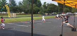 Before suiting up, outdoor conditioning.  This New Jersey fencing academy took great efforts to get approval from state and local townships not only to reopen, but also to install a canopy to facilitate outdoor training activities.