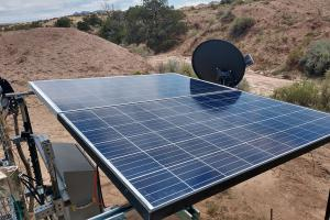 Photo of The WPM system is supported by solar power and satellite communications for 24/7 operability