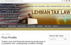 Website, Richard S. Lehman, Tax Attorney in Boca Raton, FL