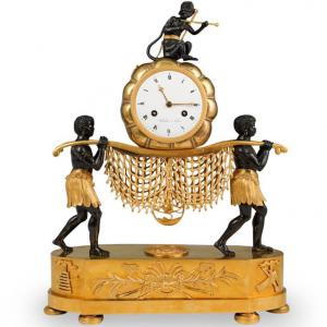 Rare 19th Cent French Empire Gilt Bronze Mantel Clock