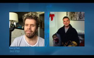 David Oulton and Perez Hilton on episode four of Face to Face with David