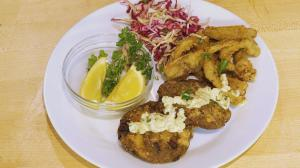 This is a featured dish on the show that looks like fish cakes. But, it's jackfruit