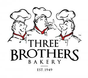 Three Brothers Bakery Logo with Caricatures of the Three Brothers
