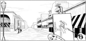 Storyboard image from The Love Hex or Nicest Flings in Mexico, Tehuacan Street