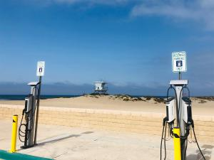 SemaConnect Series 6 EV charging stations installed on single and dual pedestals by Harbor Cove Beach