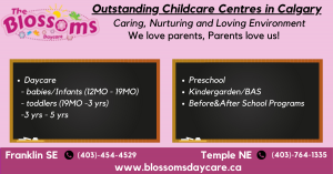 Outstanding chain of childcare centres in Calgary 1) Daycare       - babies/Infants (12MO - 19MO)      - toddlers (19MO -3 yrs)      - 3 yrs - 5 yrs. 2)Preschool 3)Kindergarden/BAS 4)Before&After School Programs  at two locations in calgary - Franklin SE