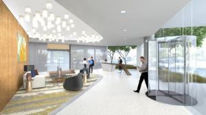 The 2401 Cedar Springs lobby will be bright and inviting with new lighting and oversized glass windows that create transparency and draw in the energy of the sidewalk and streets.