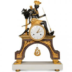 Rare 19th Cent French Empire Gilt Bronze Mantel Clock Akiba Antiques