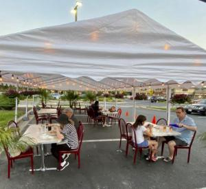 Outdoor dining is also offered in tents.