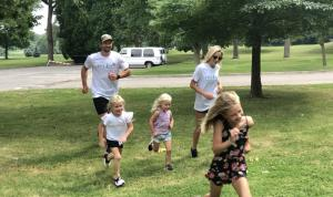 Darren Helm and family participate in Humble Design's Virtual 5K to raise money to furnish and design houses for those leaving shelters.