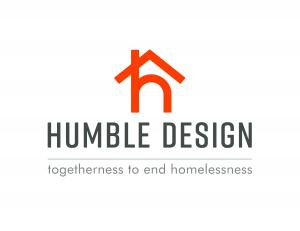 "This is the national logo for Humble Design, Inc. The symbol is a lower case ""h"" with a ""roof"" intersecting the top of the ""h"" with the tagline underneath, ""Togetherness to End Homelessness"""