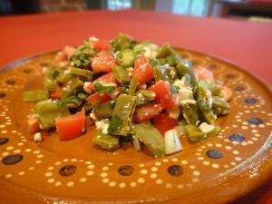 Nopalitos (cactus) salad, a traditional Texas Mexican dish