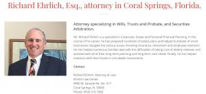 Richard Ehrlich Estate Planning Attorney in Florida Attorney Profile