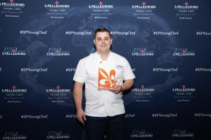 New Orleans Chef Jeremy Stephens accepts award as North America winner of the Acqua Panna Award for Connection in Gastronomy.