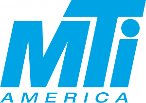 MTI America a health solutions company - blue lettering with large chunky letters for MTI