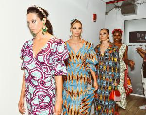 A photo of models wearing Lola Elan's collection at New York Fashion Week