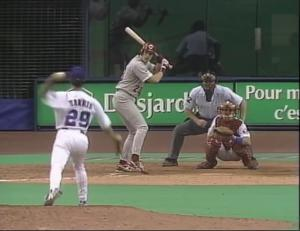 September 28, 1995, Greg A. Harris a right-handed pitcher, threw left-handed to two batters giving him the title of the first ambidextrous pitcher to pitch in a Major League game in more than 100 years.