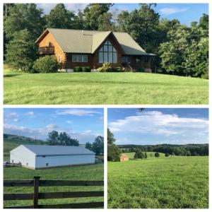 custom built log home on 45± acres with a 5,000 sq. ft. shop, pond, creek, and livestock fencing and a desirable Shenandoah Valley location