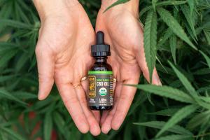 A woman holds a bottle of Cornbread Hemp's USDA organic Whole Flower CBD Oil in a hemp field.