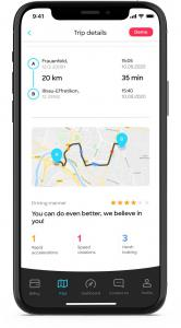 Screenshot kasko2go app, evaluation driving manner