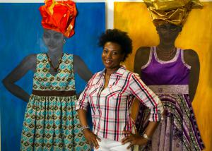 Master Artist Evelyn Adams with her most recent works.