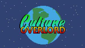 Title screen for video game 'Culture Overlord' shows a pixel drawing of the planet Earth with a video game styled 'Culture Overlord' covering the planet.