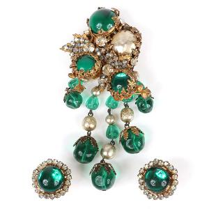 Miriam Haskell pin and earrings