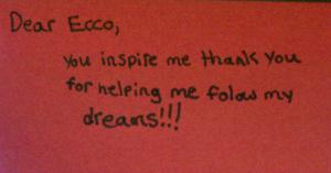 Ecco receives a thank you from a child in Colorado.