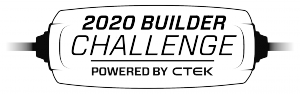 Black and white CTEK charger outline for 2020 Builder Challenge powered by CTEK