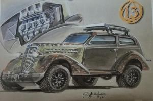 Artist rendering of Jason Ludwin's 1936 Ford Sedan build