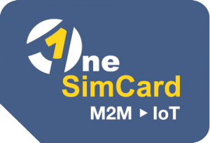 OneSimCard IoT logo depicting SIM card with OneSimCard logo graphics over a blue-gray background