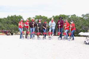 photo of staff and board members at the ground breaking ceremony for RED Arena's new facility in Dripping Springs, TX