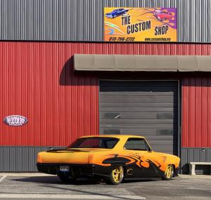 1967 yellow and gray Chevy Nova build outside The Custom Shop in Flanagan, IL.