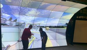 immersive virtual reality display that curves over users heads for viewing the 3D map of the universe