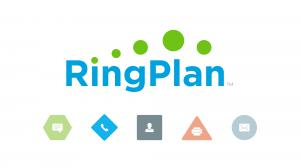 RingPlan logo with icons for each of the available features including phone, fax, video conferencing, text messaging, and more