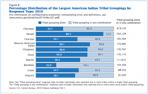 "The 2010 US census lists ""Mexican American Indian"" as the second largest tribal affiliation in the US"