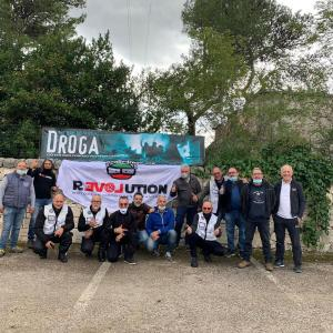 "Bikers from the Motoclub Revolution of Valmadrera drove 1000-km nonstop by motorbike to promote the ""I Say No to Drugs"" initiative of Italy's Foundation for a Drug-Free World."