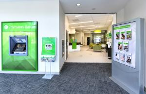 Photo show the entrance to the modern, open-environment interior of the new bank's new Williamsburg branch