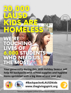 Poster depicts #Backpacks4LAUSDKids initiative between The Giving Spirit and Los Angeles Unified School District to provide backpacks filled with school supplies and hygiene items to 6,000 homeless students and their families
