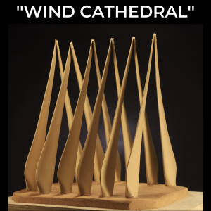 Wind Cathedral sculpture created from obsolete wind turbine blades