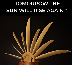 Tomorrow The Sun Will Rise Again monumental sculpture from turbine blades.