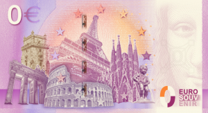 This is the back side of the Euro Souvenir banknote