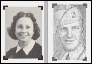 black and white photo from the 1940s of a man in a military uniform and a woman smiling for camera.
